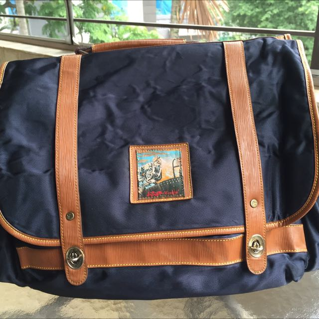 Soft classic-style luggage bag (navy blue)