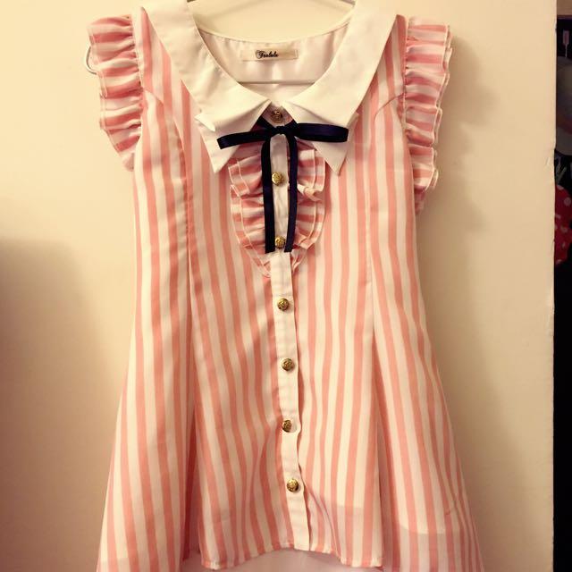 Tralala 粉紅直條紋挺版雪紡上衣 含精緻內襯