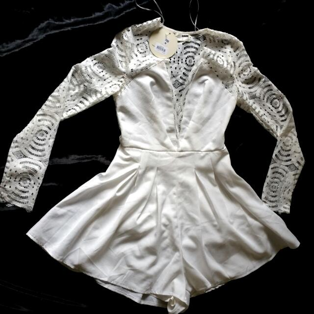 White Lace Playsuit Size 8