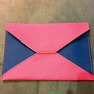 [廿蚊區]螢光粉紅撞籃色証件袋 (無牌子)
