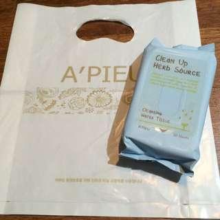 韓國A'PIEU 卸妝濕紙巾