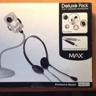 MAX USB Webcam Headset 2-in-1 Deluxe Pack