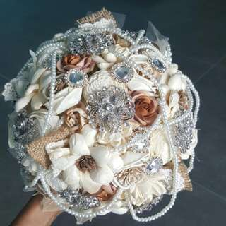 Bridal Bouquet - Sola Flowers with Brooches/Pearls