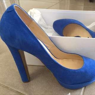 Tony Bianco Size 7 Blue Suede Heels