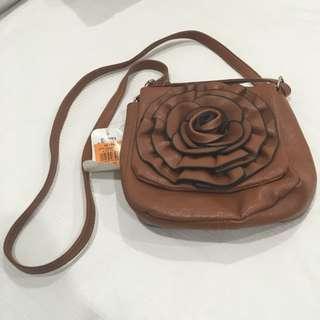 Brown Rose Over The Shoulder Bag