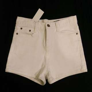 白色牛仔褲 高腰牛仔短褲