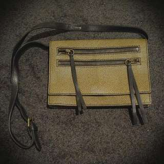 Country Road Genuine Leather Bag - Khaki/Olive Colour with Black Strap