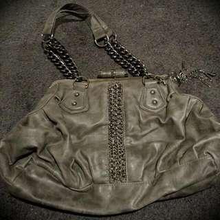 Tony Bianco Grey Handbag with Chain Detail