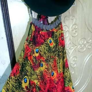 孔雀紋夏季渡假連裙