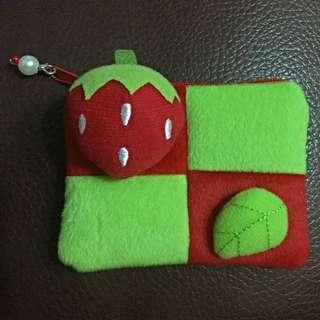 草莓Berry不織布X絨布零錢包