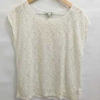 F21 White Lace Blouse