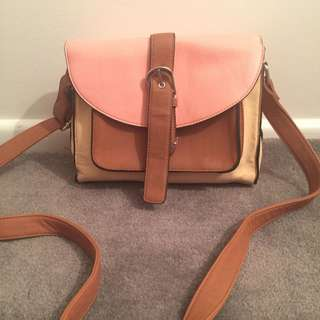 Pink, Tan And Cream Sportsgirl Side Bag