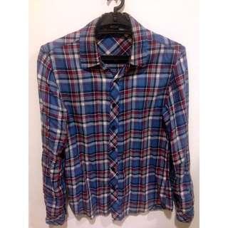 古著 合身 藍白紅 格紋襯衫