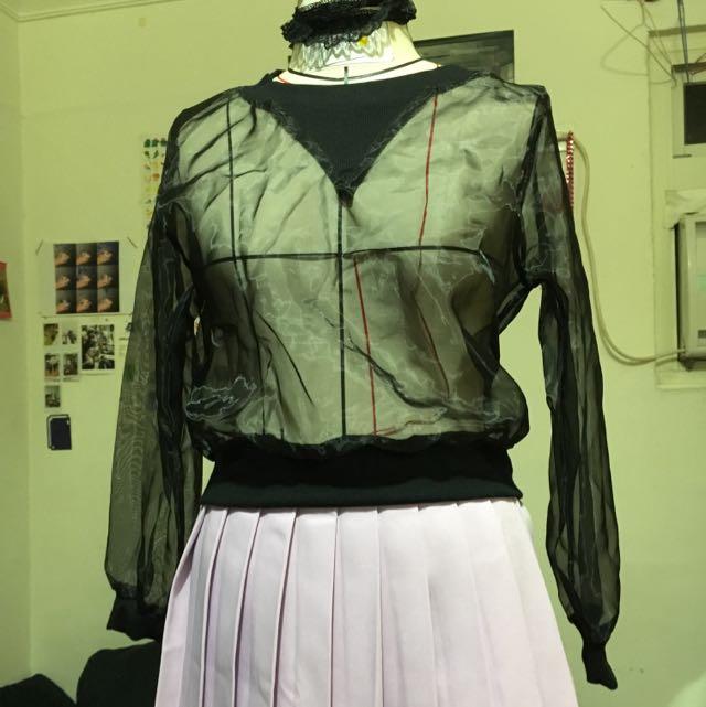 透明網紗辣款短板上衣