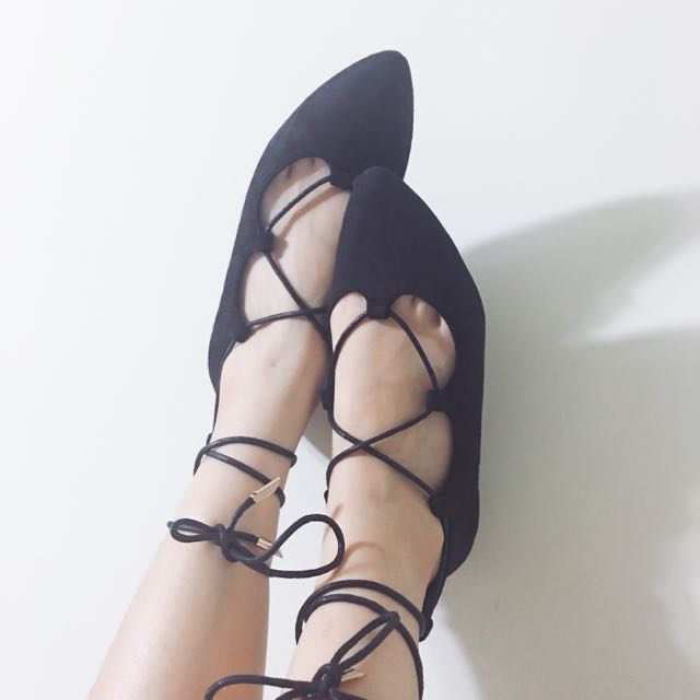 全新芭蕾綁帶尖頭平底鞋