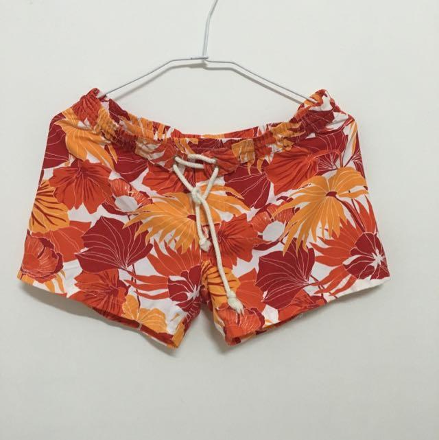 亮橘色海灘褲