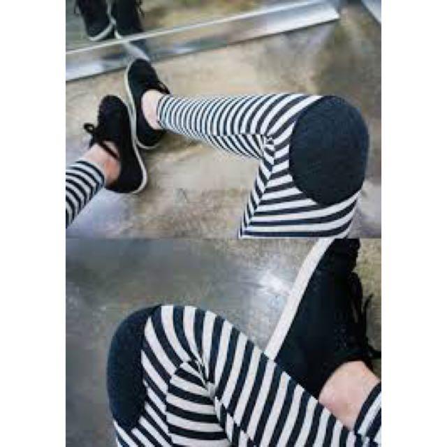 8成新)條紋膝蓋補丁顯瘦內搭棉褲