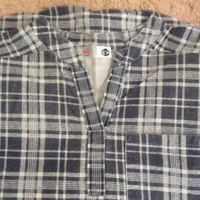 韓製刷舊格子上衣