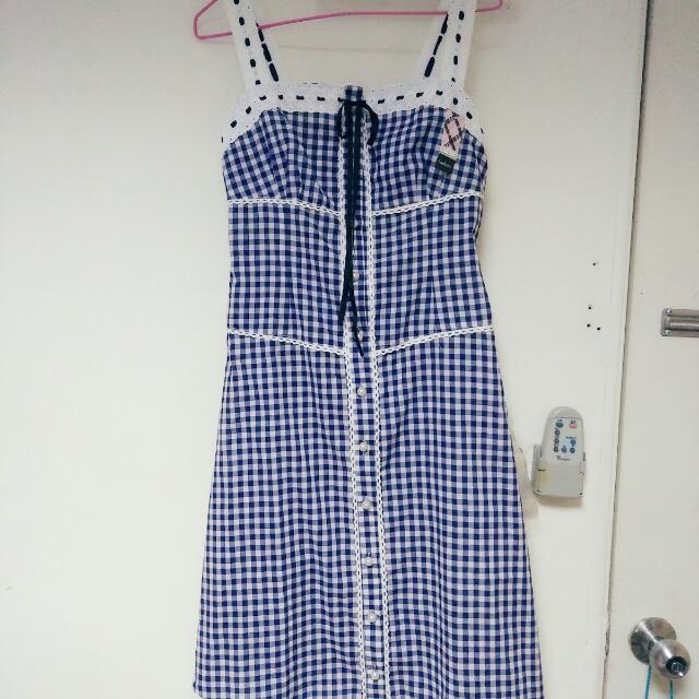 日系藍格子洋裝