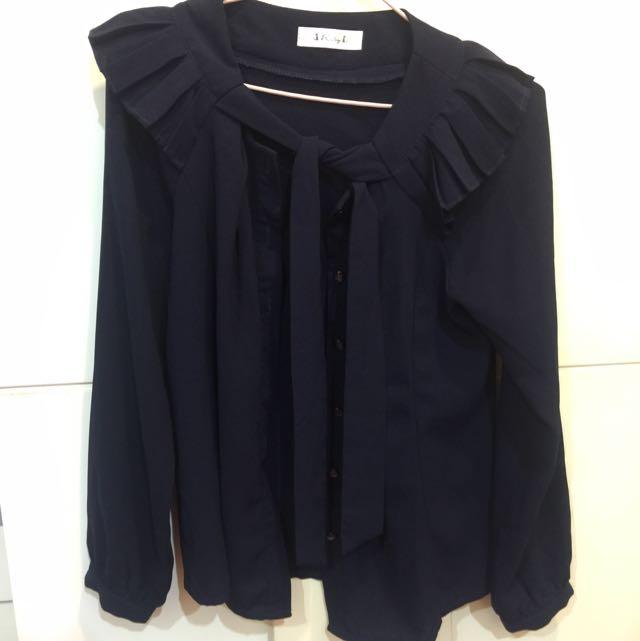 深藍長袖雪紡襯衫