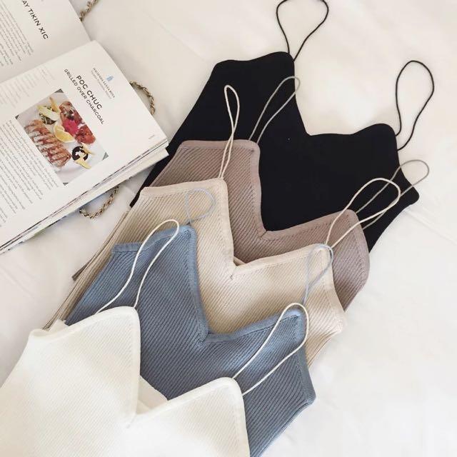 韓國 簡約針織吊帶背心