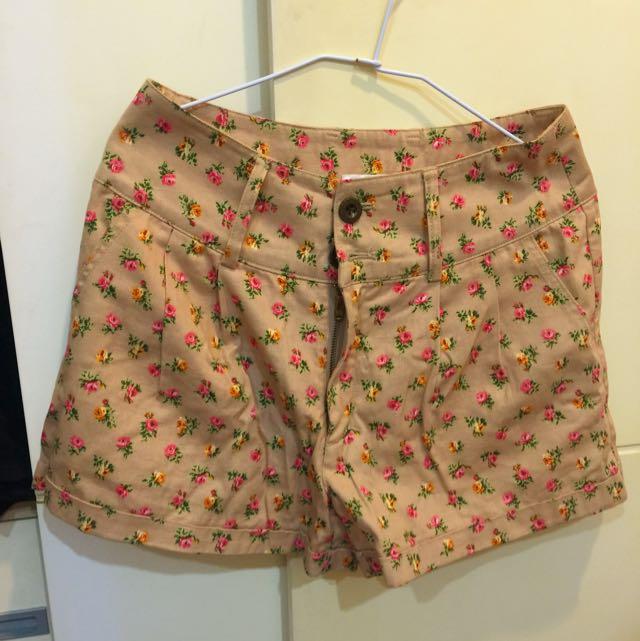 日本購入 碎花高腰短褲