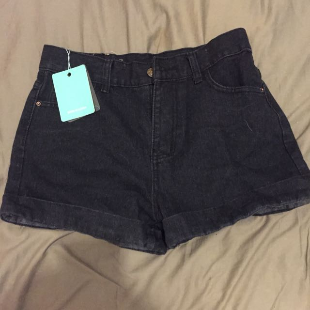 全新 韓國 黑色高腰反折短褲