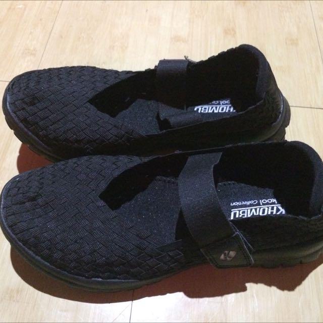 黑 編織 休閒鞋