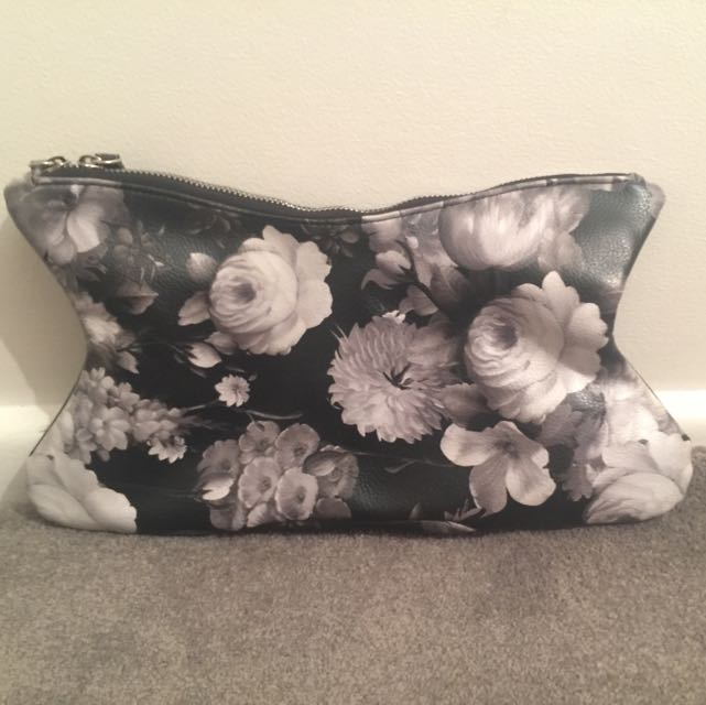 Black And White Floral Bardot Clutch