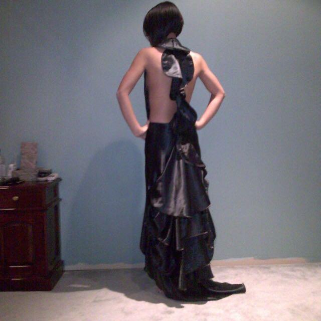 Black GASP Backless Dress. Size 8.