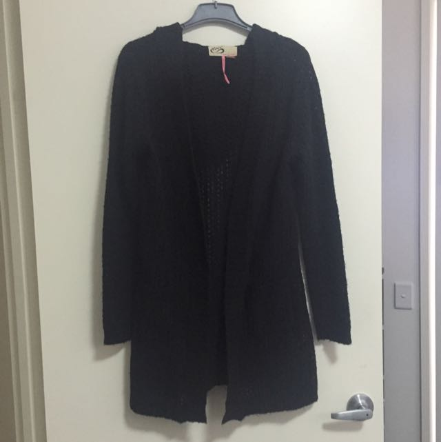 BLACK HOODED KNIT CARDIGAN BY PURR LARGE