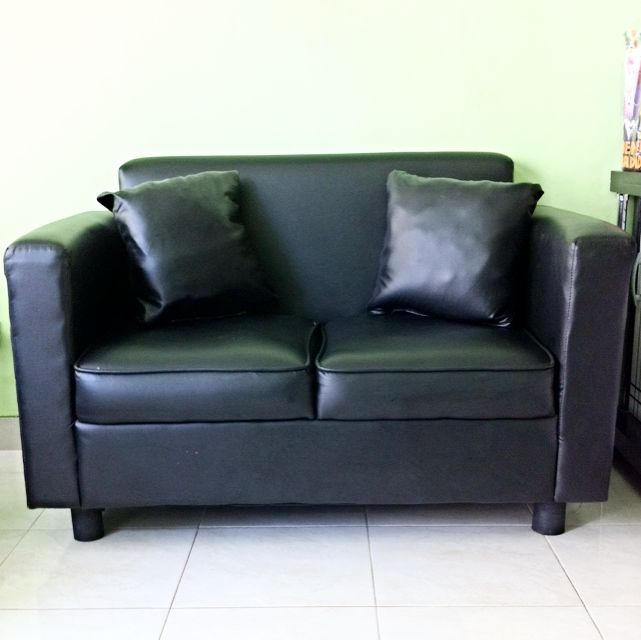 Black Leather Double Seater Sofa