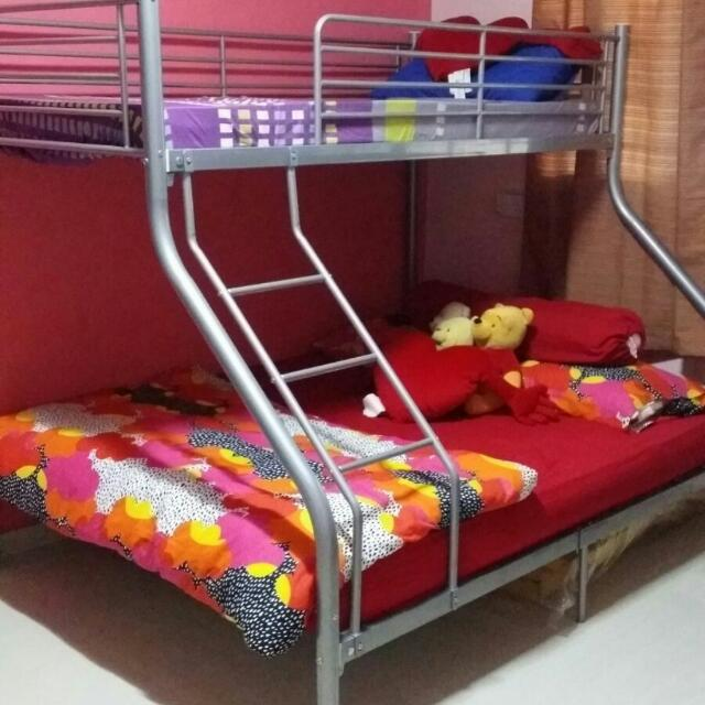 RESERVED) Double Deck Bed Frame With Queen Size Mattress, Furniture ...