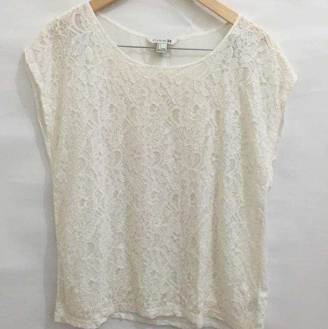 F21 White Lace Blouse
