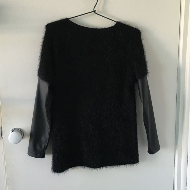 Fluffy Jumper With Faux Leather Arms