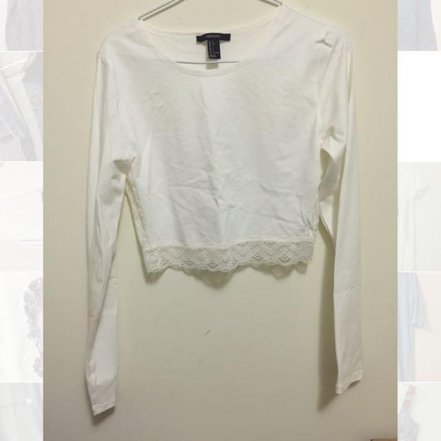 日本🇯🇵帶回forever21短版蕾絲長袖合身上衣