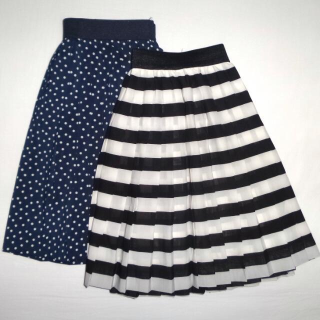 dc564b5459 H&M Polka Dot Skirt (34) & H&M Striped Skirt (35), Women's Fashion ...