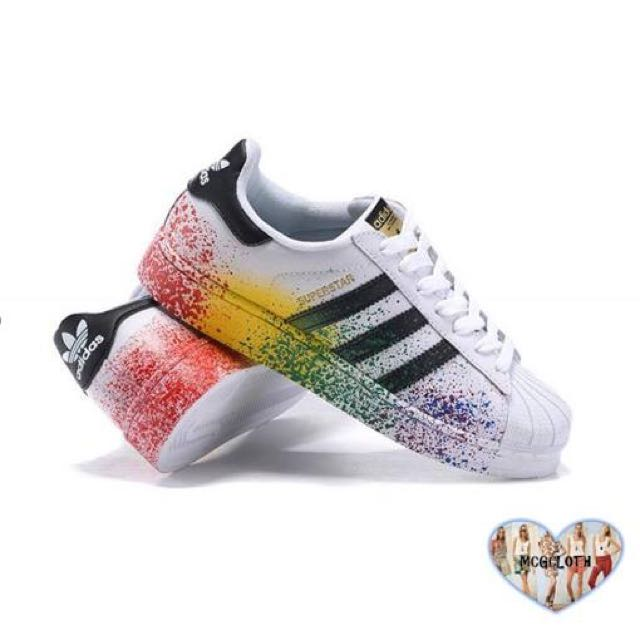 Inspired Adidas Superstar Rainbow sneakers. 0fbd9973f3c2