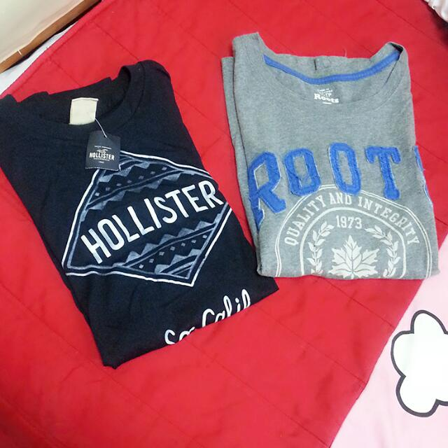 Roots hollister 短袖 tee