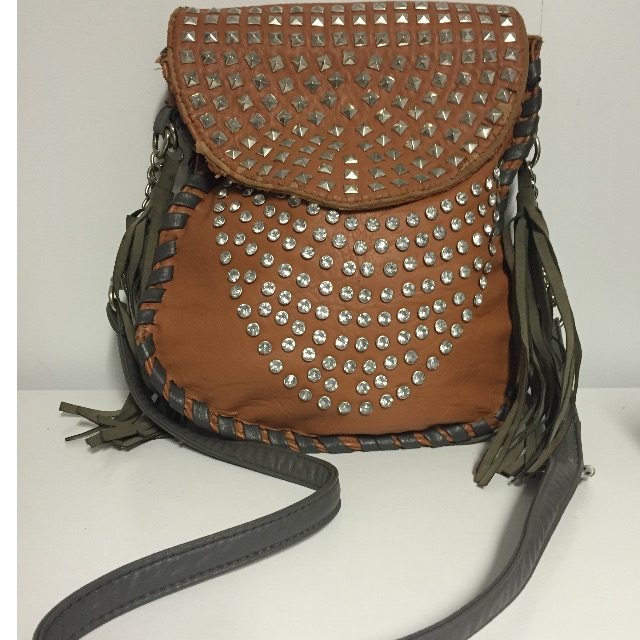Tan & Grey Shoulder Bag with Embellishments and Tassels