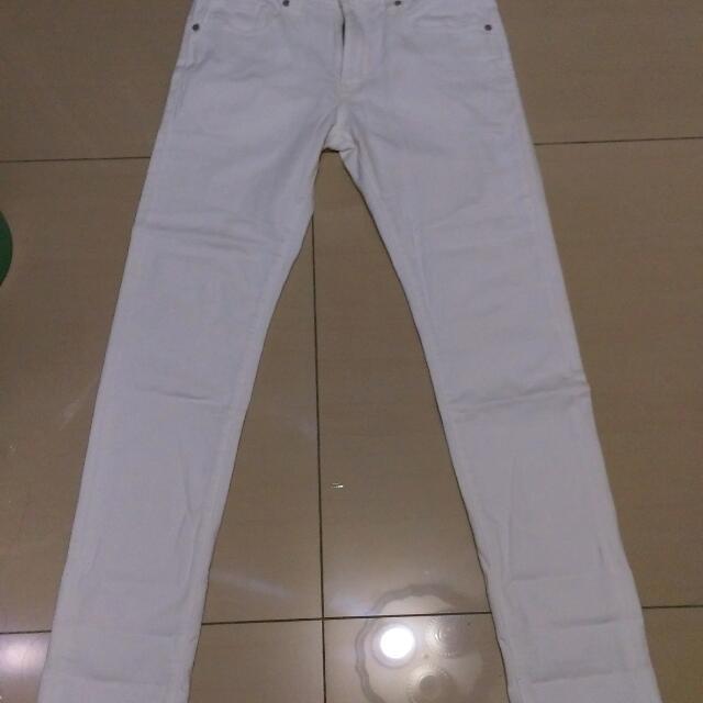 Uniqlo 白色 長褲 牛仔褲 Skinny Fit