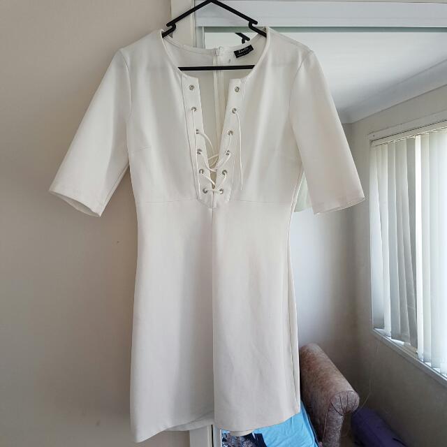 White Neoprene Bardot Dress Size 10 Brand New Cocktail Dress