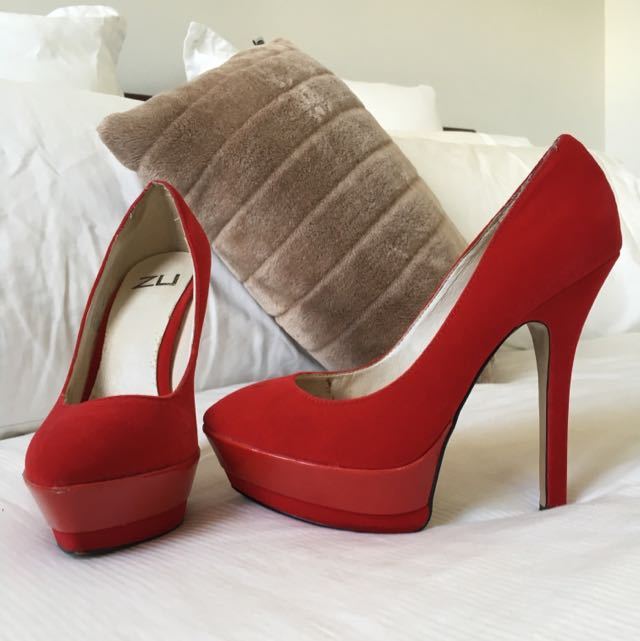 ZU Red Pump Platform Stilettos