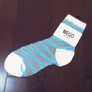 兩件299 Wego原宿軟妹粉色糖果色 透明水晶襪子