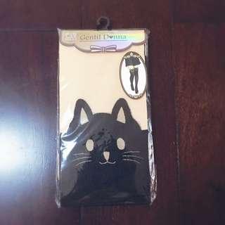 兩件299 原宿竹下通購入!軟妹黑色黑貓 貓貓假大腿襪  透明水晶襪子