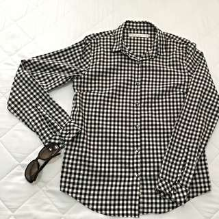 GIORDANO Ladies L/S Shirt - Black White Checkered (Reserved)