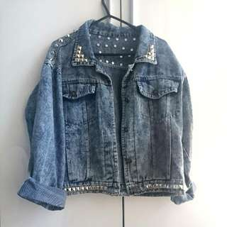 Studded Cropped Denim Jacket