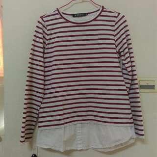 (全新!!!!!!!!)Hang ten紅條紋上衣