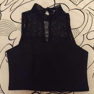 High-Neck Crop Top with Lace