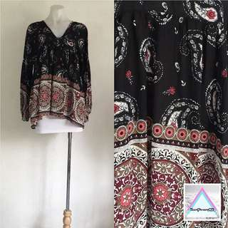 Black Paisley Babydoll Top (PENDING DELIVERY)
